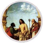 Cima Da Conegliano The Incredulity Of St Thomas With St Magno Vescovo Round Beach Towel