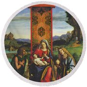 Cima Da Conegliano The Madonna And Child With St John The Baptist And Mary Magdalen Round Beach Towel