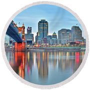 Cincinnati At Ground Level Round Beach Towel