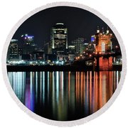 Cincinnati Lights The Ohio River Round Beach Towel
