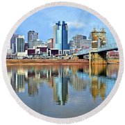 Cincinnati Ohio Times Two Round Beach Towel