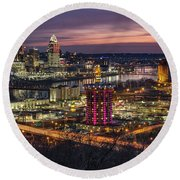 Cincinnati Sunrise Round Beach Towel