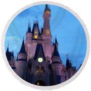 Cinderella Castle Round Beach Towel