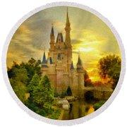 Cinderella Castle - Monet Style Round Beach Towel