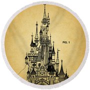 Cinderella Castle Patent Round Beach Towel