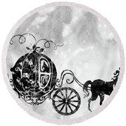 Cinderella's Carriage-black Round Beach Towel