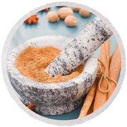 Cinnamon In Mortar Round Beach Towel