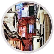 Cinque Terre All'aperto Round Beach Towel