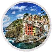 Cinque Terre - Riomaggiore From Above- Vintage Version Round Beach Towel
