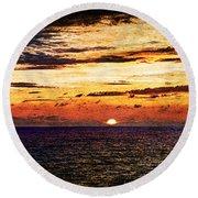 Cinque Terre - Sunset From Manarola - Panorama - Vintage Version Round Beach Towel
