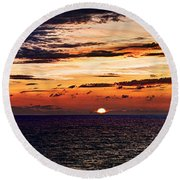 Cinque Terre - Sunset From Manarola - Panorama Round Beach Towel