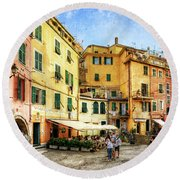 Cinque Terre - Vernazza Main Street - Vintage Version Round Beach Towel