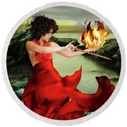 Circe, Greek Mythological Goddess Round Beach Towel