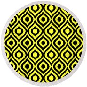 Circle And Oval Ikat In Black N05-p0100 Round Beach Towel