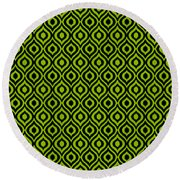 Circle And Oval Ikat In Black N09-p0100 Round Beach Towel