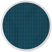 Circle And Oval Ikat In Black N18-p0100 Round Beach Towel
