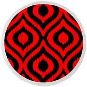 Circle And Oval Ikat In Black T02-p0100 Round Beach Towel