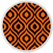 Circle And Oval Ikat In Black T03-p0100 Round Beach Towel