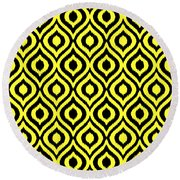 Circle And Oval Ikat In Black T05-p0100 Round Beach Towel