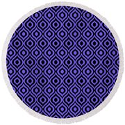Circle And Oval Ikat In Black T09-p0100 Round Beach Towel