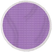 Circle And Oval Ikat In White N30-p0100 Round Beach Towel