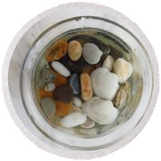 Circle In Glass And Stone 2 Round Beach Towel