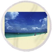 Circle Of Clouds On Grand Cayman Round Beach Towel