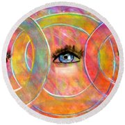 Circle Of Eyes Round Beach Towel