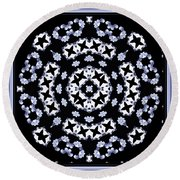 Circle Of Stars And Flowers Round Beach Towel