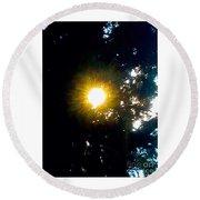 Circle Of Sunglow Through Pine Round Beach Towel