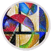 Circles And Shapes Round Beach Towel