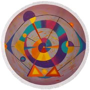 Circles In Space Round Beach Towel