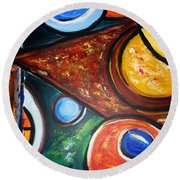 Circles Of  Life Round Beach Towel