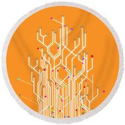 Circuit Board Graphic Round Beach Towel by Setsiri Silapasuwanchai
