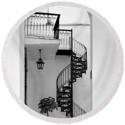 Circular Staircase In Black And White Round Beach Towel