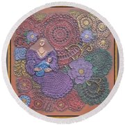 Circulo Mother And Child Round Beach Towel