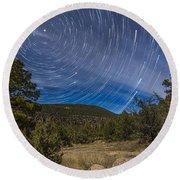 Circumpolar Star Trails Over The Gila Round Beach Towel