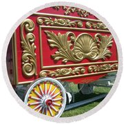 Circus Car In Red And Gold Round Beach Towel