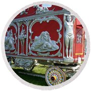 Circus Car In Red And Silver Round Beach Towel