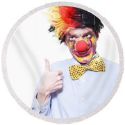 Circus Clown With Thumb Up To Carnival Advertising Round Beach Towel by Jorgo Photography - Wall Art Gallery