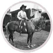Circus Cowboy On Horse Round Beach Towel