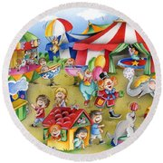 Circus In Town Round Beach Towel