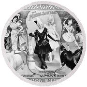 Circus Poster, 1895 Round Beach Towel