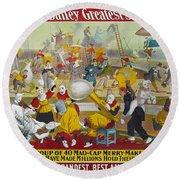 Circus Poster, 1903 Round Beach Towel