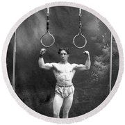 Circus Strongman, 1885 Round Beach Towel