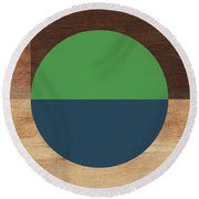 Cirkel Blue And Green- Art By Linda Woods Round Beach Towel