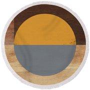 Cirkel Yellow And Grey- Art By Linda Woods Round Beach Towel by Linda Woods
