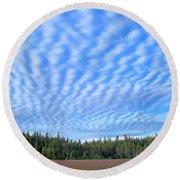 Cirrocumulus Clouds Over Mt. Mclaughlin Round Beach Towel