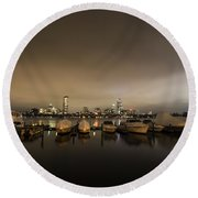 Citgo Sign Through The Boats On The Charles River Boston Ma Massachusetts Wide Angle Round Beach Towel