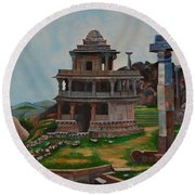 Cithradurga Fort Round Beach Towel